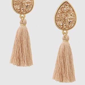 Druzy Stone Tassel Earrings